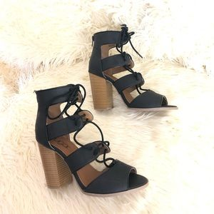 Sugar Melinda Open Toe Lace Up Pump Heels